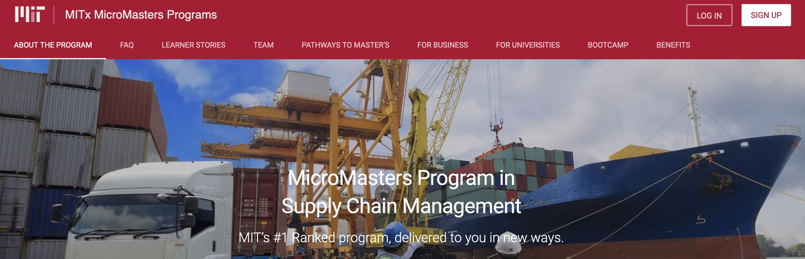 MicroMasters Program in Supply Chain Management MIT's #1 Ranked program, delivered to you in new ways.